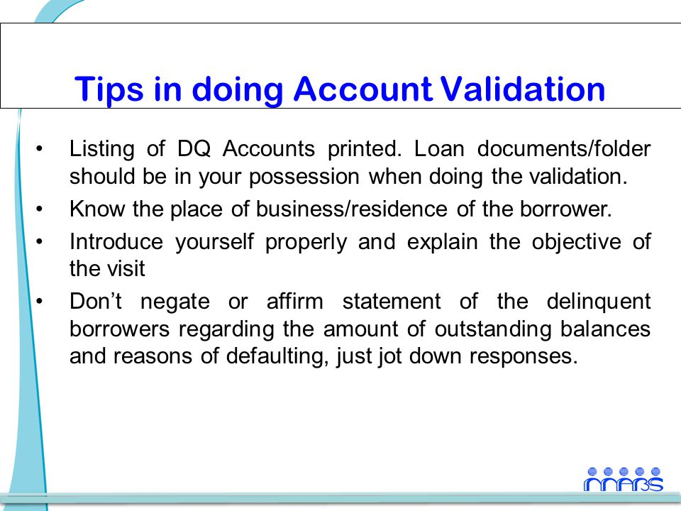Tips in doing Account Validation Listing of DQ Accounts printed.