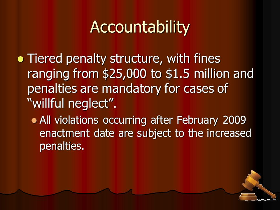 Accountability Business Associates with access PHI bound by the same requirements as the Organization (Feb 2010).