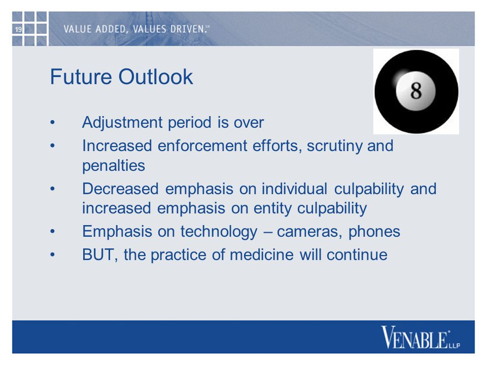 19 Future Outlook Adjustment period is over Increased enforcement efforts, scrutiny and penalties Decreased emphasis on individual culpability and increased emphasis on entity culpability Emphasis on technology – cameras, phones BUT, the practice of medicine will continue