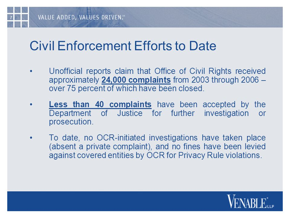 7 Civil Enforcement Efforts to Date Unofficial reports claim that Office of Civil Rights received approximately 24,000 complaints from 2003 through 2006 – over 75 percent of which have been closed.