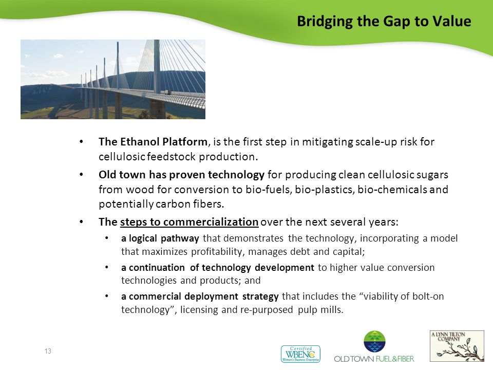 Bridging the Gap to Value The Ethanol Platform, is the first step in mitigating scale-up risk for cellulosic feedstock production.
