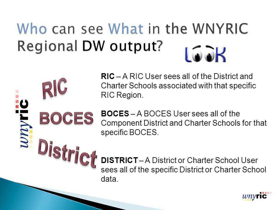 RIC – A RIC User sees all of the District and Charter Schools associated with that specific RIC Region.