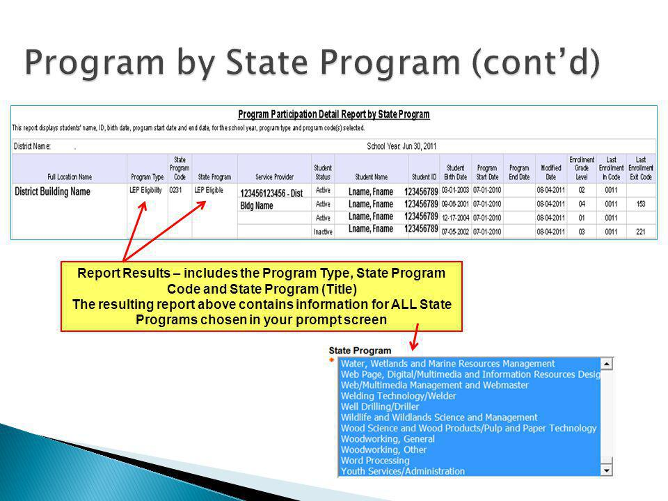 Report Results – includes the Program Type, State Program Code and State Program (Title) The resulting report above contains information for ALL State Programs chosen in your prompt screen
