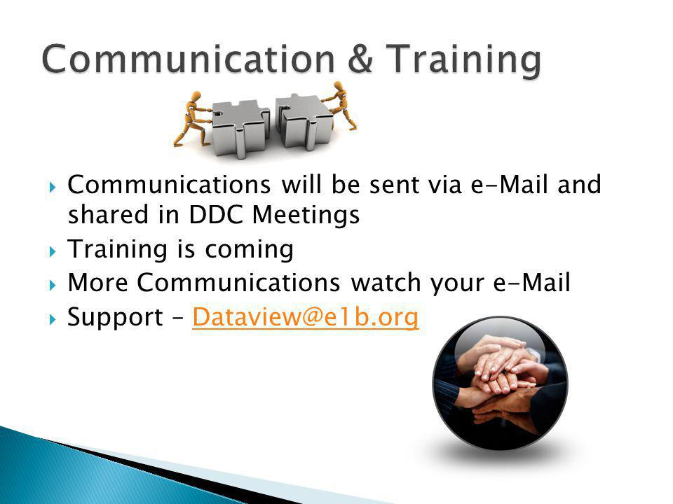  Communications will be sent via e-Mail and shared in DDC Meetings  Training is coming  More Communications watch your e-Mail  Support – Dataview@e1b.orgDataview@e1b.org