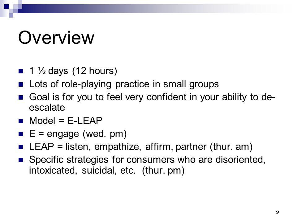 3 Wednesday PM What is de-escalation Effective communication Non-verbals Behavioral crisis Engagement