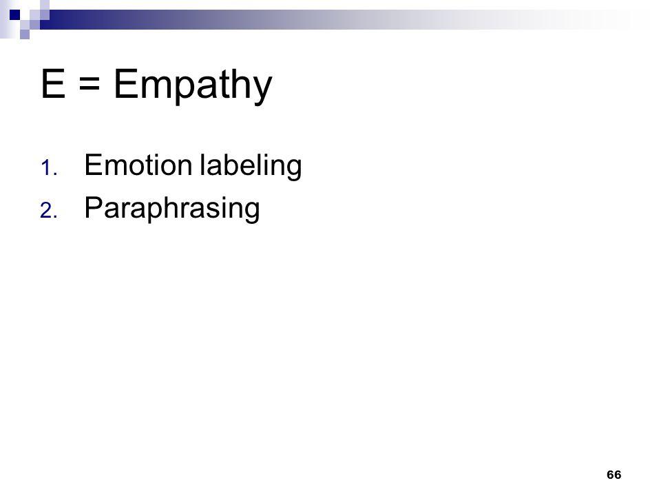 66 E = Empathy 1. Emotion labeling 2. Paraphrasing