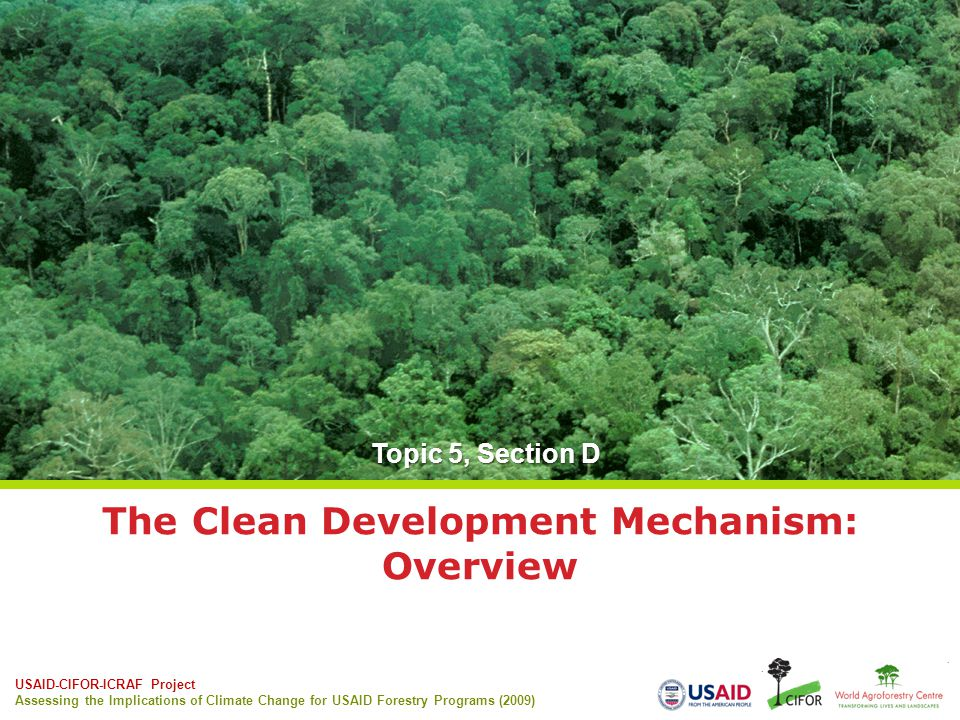 USAID-CIFOR-ICRAF Project Assessing the Implications of Climate Change for USAID Forestry Programs (2009) The Clean Development Mechanism: Overview Topic 5, Section D