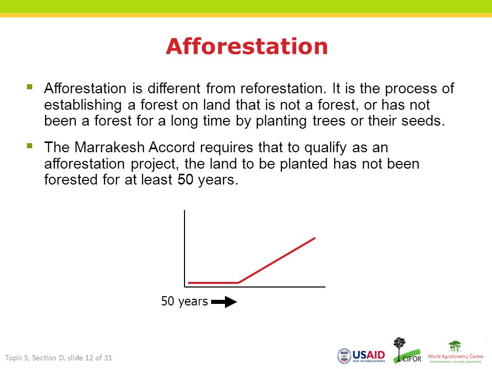 Afforestation  Afforestation is different from reforestation.