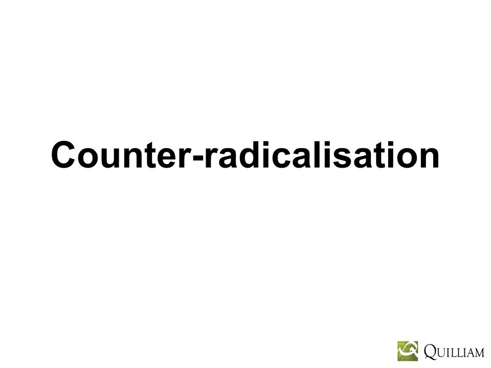 Multiple Strands Counter-terrorism – military, police, intelligence Counter-radicalisation – civil society partners working closely with media De-radicalisation – knowledgeable and credible individuals with necessary insight and experience Disengagement – government via credible interlocutors
