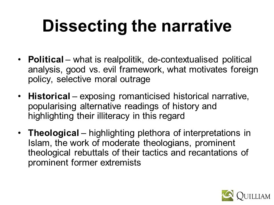 Dissecting the narrative Political – what is realpolitik, de-contextualised political analysis, good vs.