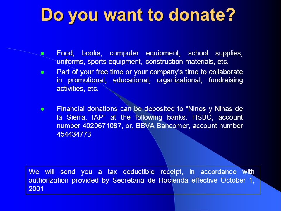 Do you want to donate.