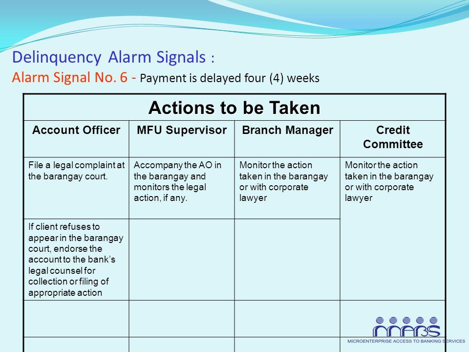Delinquency Alarm Signals : Alarm Signal No.