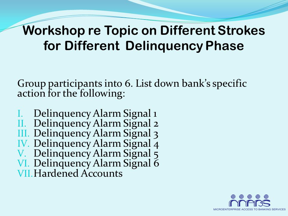 Workshop re Topic on Different Strokes for Different Delinquency Phase Group participants into 6.