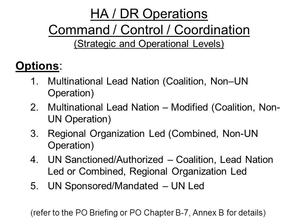 HA / DR Operations Command / Control / Coordination (Strategic and Operational Levels) Options: 1.Multinational Lead Nation (Coalition, Non–UN Operati