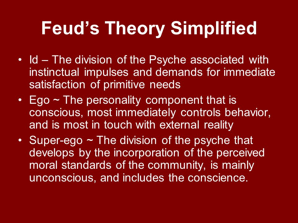 Sigmund Freud's Psychoanalysis Theory Ego, super-ego, and id –Main article: Ego, super-ego, and idEgo, super-ego, and id - In his later work, Freud pr