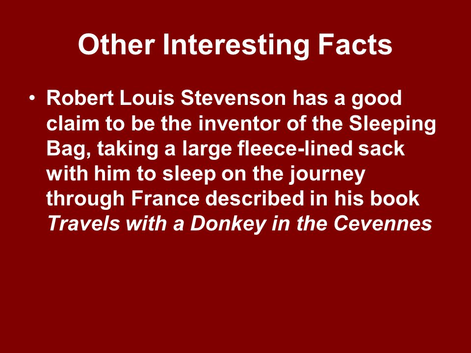 Robert Louis Stevenson ~continued~ His first great writing success was Treasure Island ~ thrilling story of a swashbuckling pirate named Long John Sil