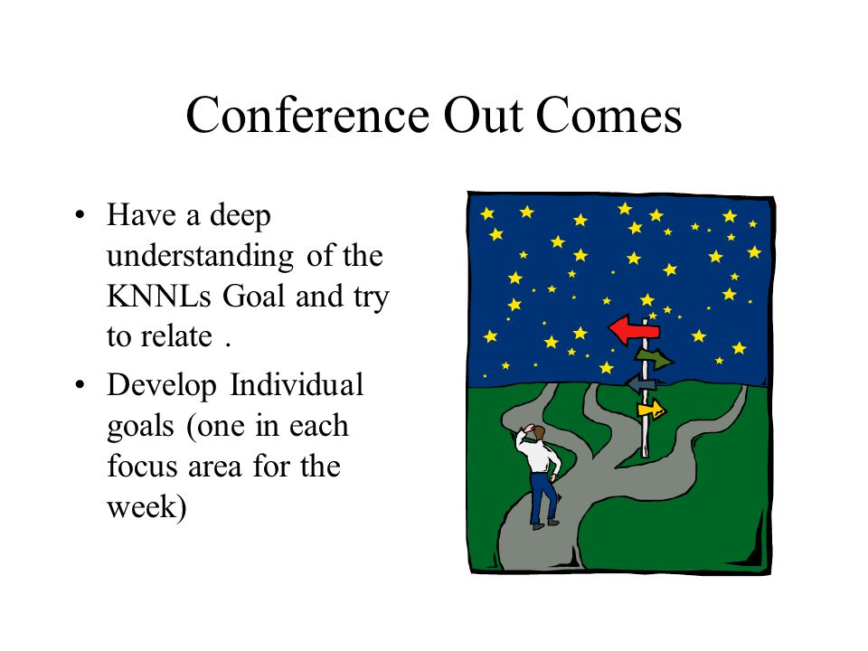 Conference Out Comes Have a deep understanding of the KNNLs Goal and try to relate. Develop Individual goals (one in each focus area for the week)