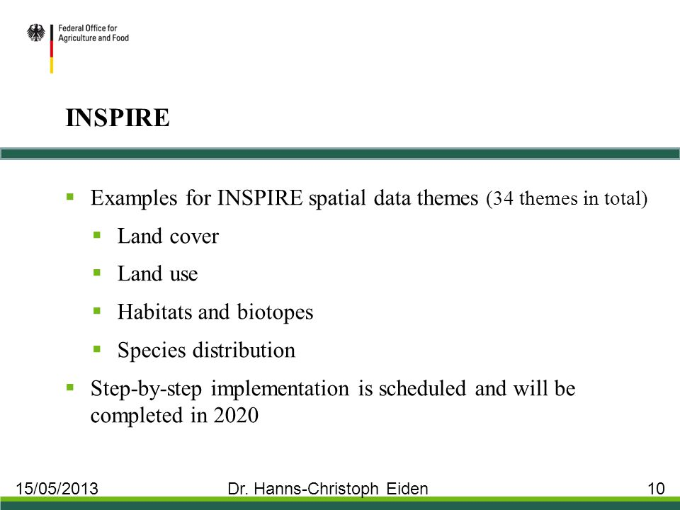 INSPIRE  Examples for INSPIRE spatial data themes (34 themes in total)  Land cover  Land use  Habitats and biotopes  Species distribution  Step-by-step implementation is scheduled and will be completed in 2020 15/05/2013 Dr.