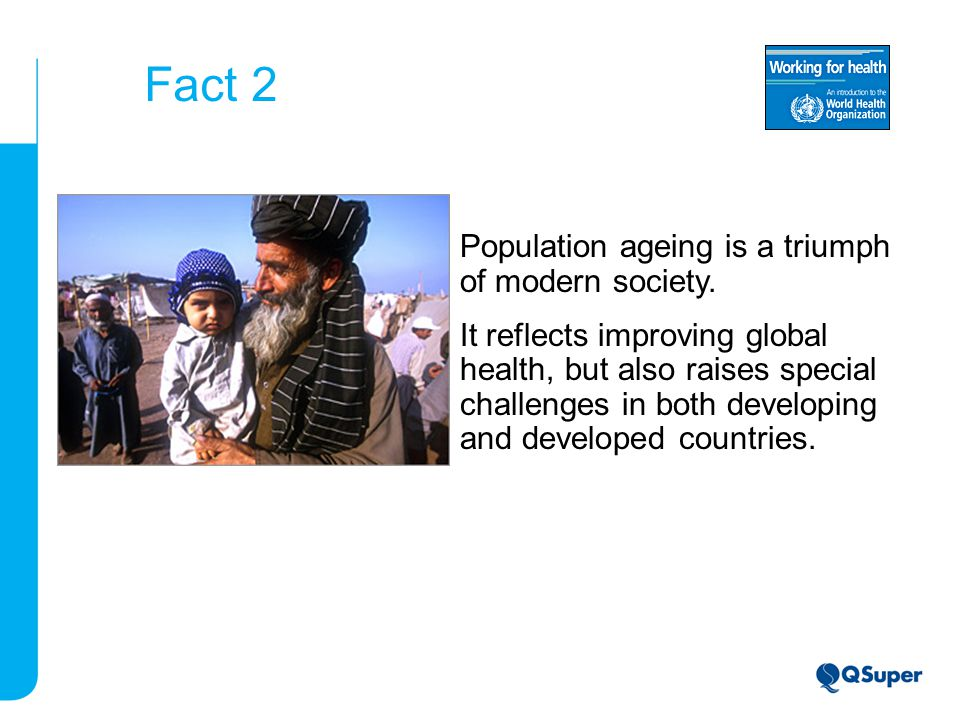 Fact 2 Population ageing is a triumph of modern society.