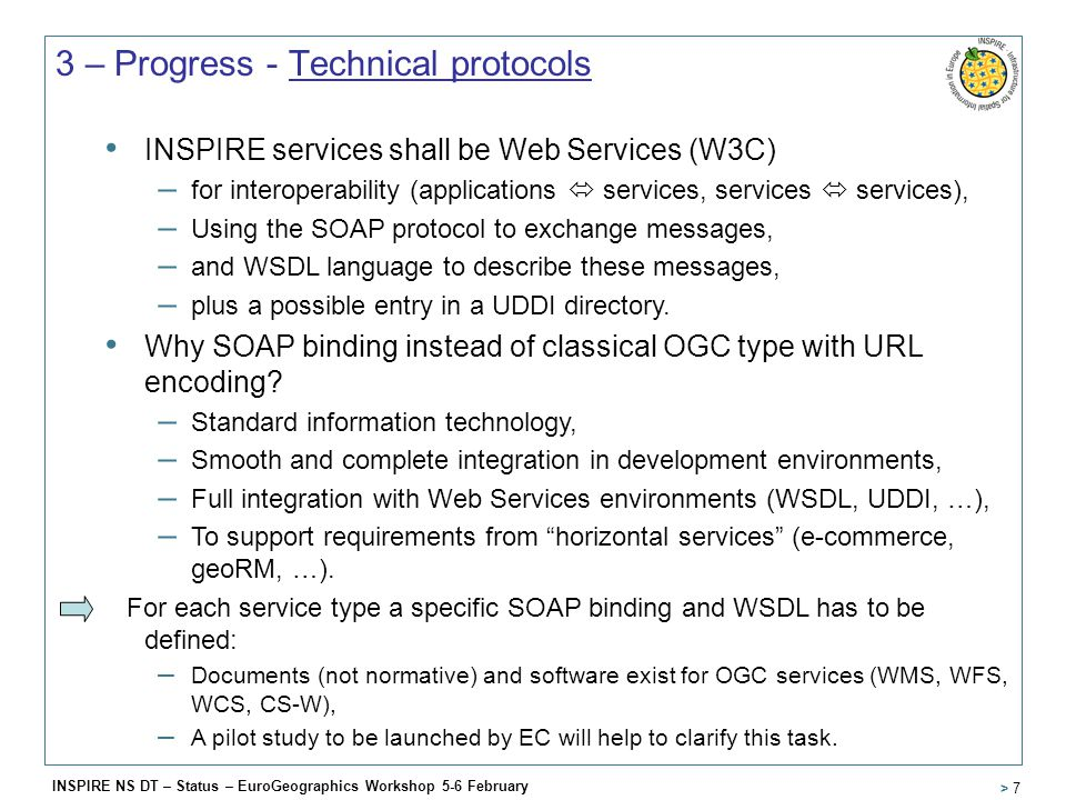 INSPIRE NS DT – Status – EuroGeographics Workshop 5-6 February > 7 3 – Progress - Technical protocols INSPIRE services shall be Web Services (W3C) – for interoperability (applications  services, services  services), – Using the SOAP protocol to exchange messages, – and WSDL language to describe these messages, – plus a possible entry in a UDDI directory.