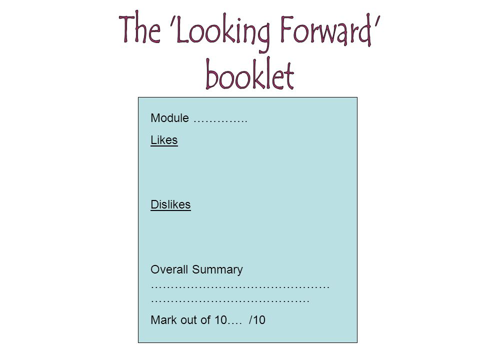 Module ………….. Likes Dislikes Overall Summary ……………………………………… …………………………………. Mark out of 10…. /10