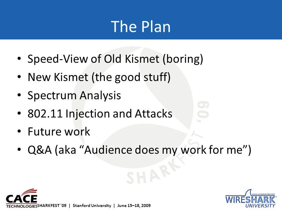 SHARKFEST '09 | Stanford University | June 15–18, 2009 The Plan Speed-View of Old Kismet (boring) New Kismet (the good stuff) Spectrum Analysis 802.11