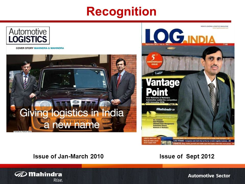 Automotive Sector Recognition Issue of Jan-March 2010Issue of Sept 2012
