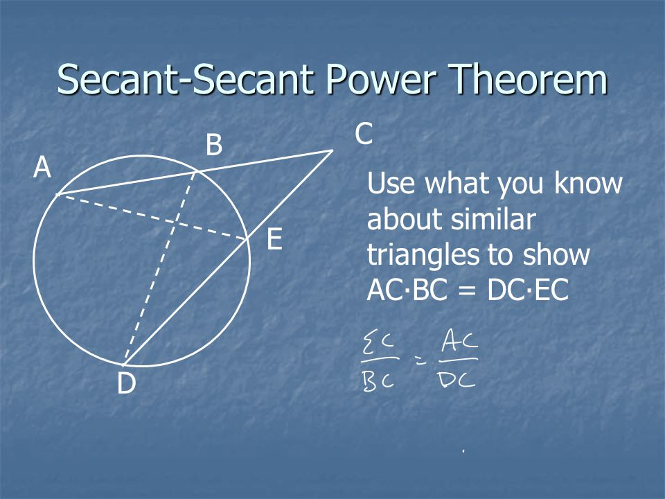 Secant-Secant Power Theorem A B C D E Use what you know about similar triangles to show AC∙BC = DC∙EC