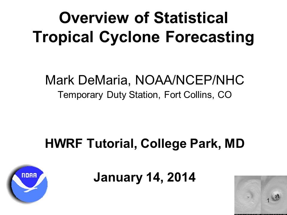 Outline Overview of statistical techniques for tropical cyclone forecasting Evolution of track forecast models Statistical intensity models Consensus techniques Statistical prediction of other parameters Summary 2