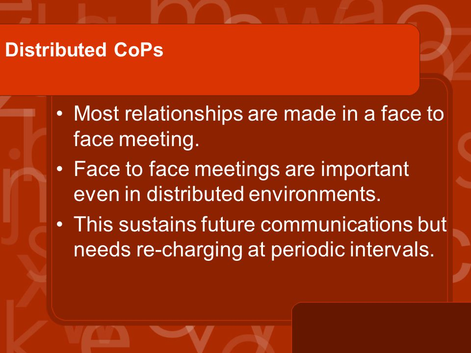 Distributed CoPs Most relationships are made in a face to face meeting.