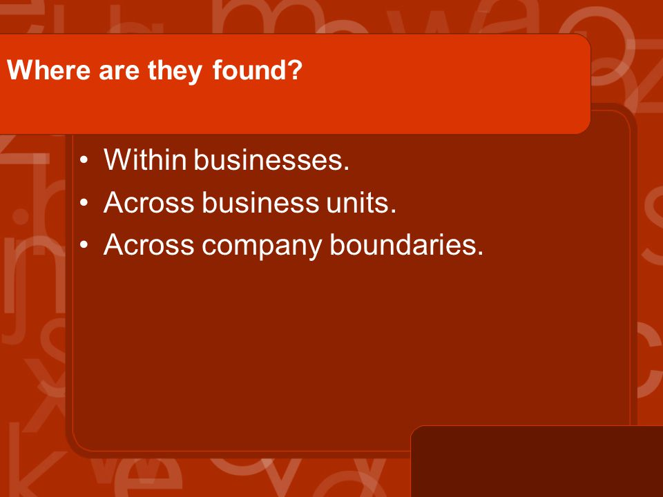 Where are they found? Within businesses. Across business units. Across company boundaries.