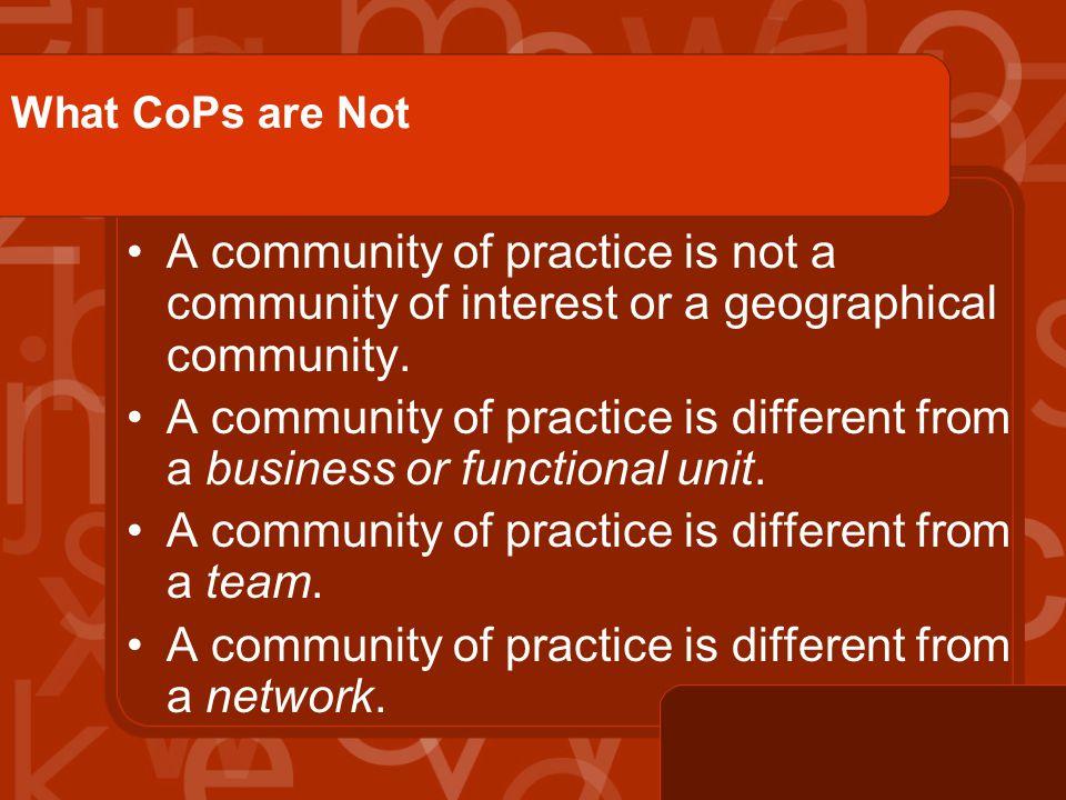 Types of CoPs Unrecognized. Bootlegged. Legitimized. Strategic. Transformative.