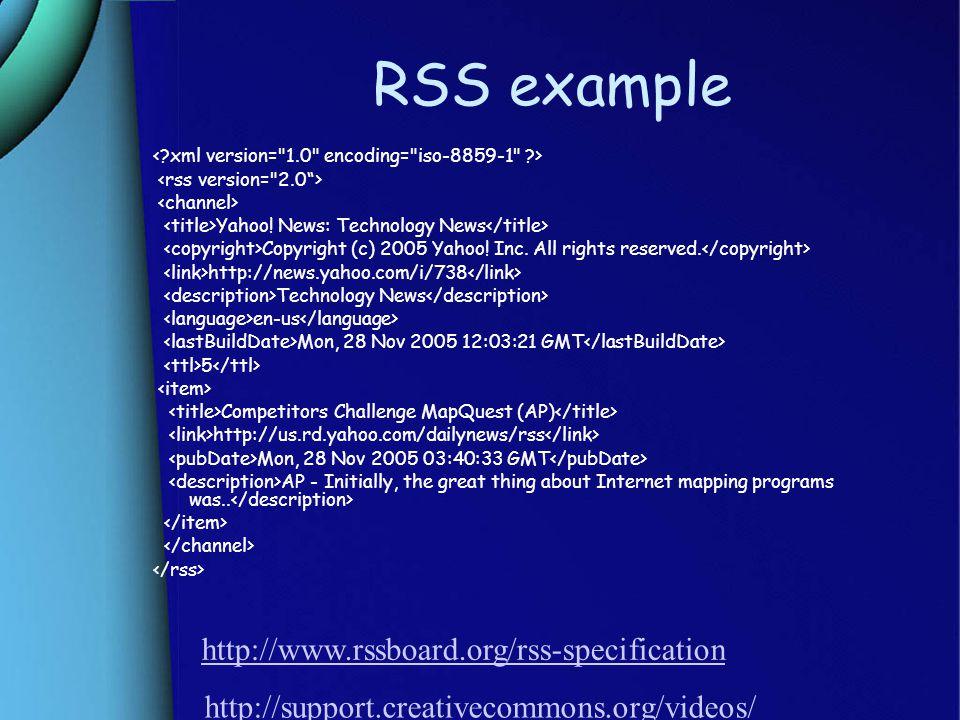 RSS example Yahoo. News: Technology News Copyright (c) 2005 Yahoo.