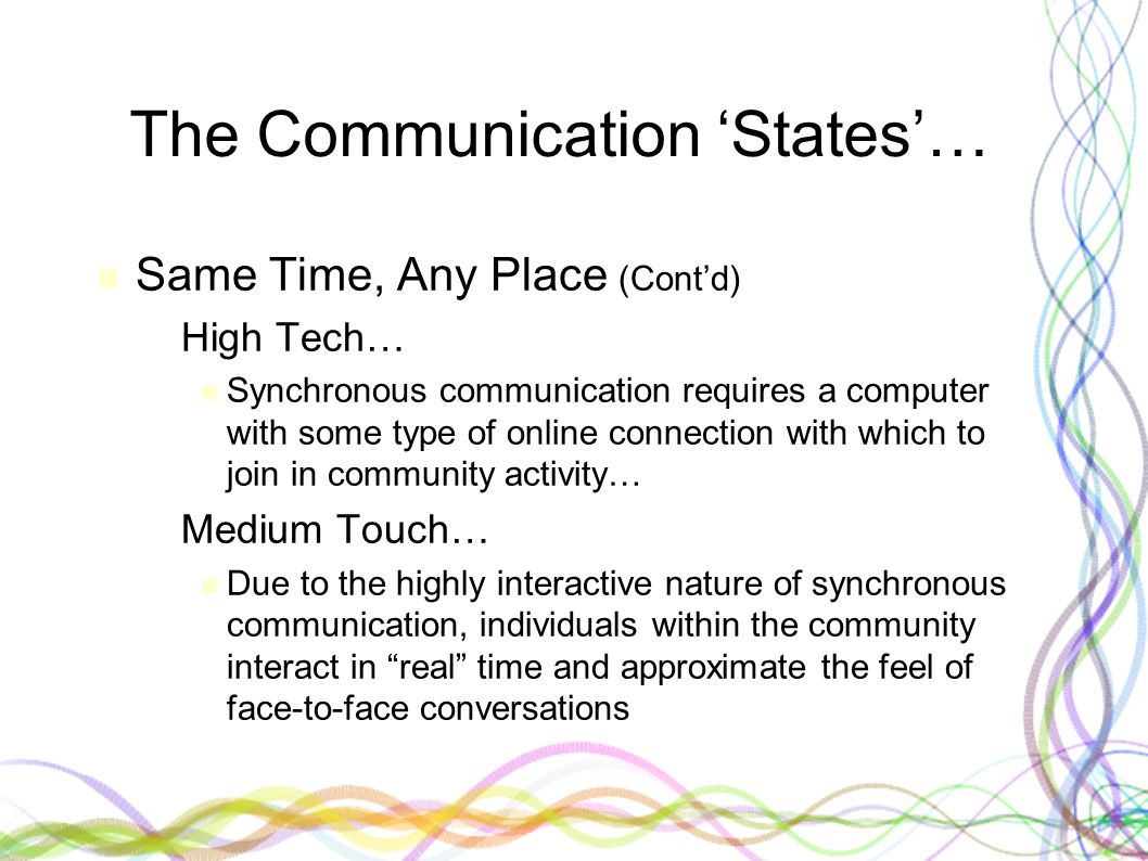 The Communication 'States'… Same Time, Any Place (Cont'd) – High Tech… Synchronous communication requires a computer with some type of online connecti
