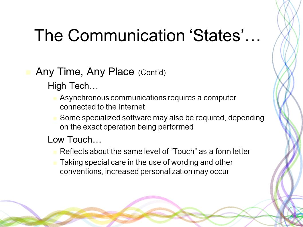 The Communication 'States'… Any Time, Any Place (Cont'd) – High Tech… Asynchronous communications requires a computer connected to the Internet Some s
