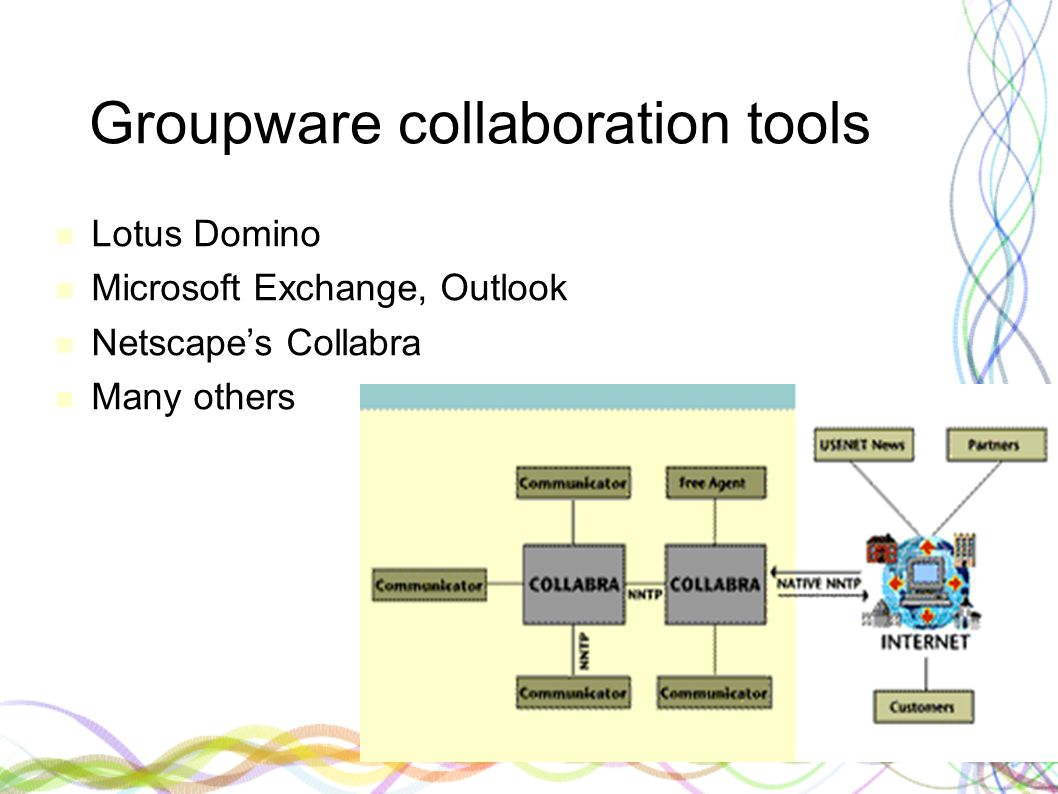 Groupware collaboration tools Lotus Domino Microsoft Exchange, Outlook Netscape's Collabra Many others
