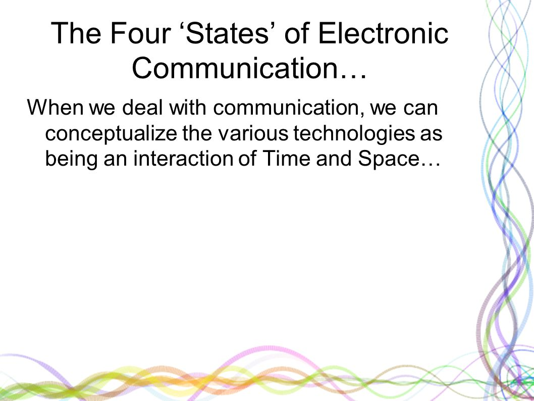 The Four 'States' of Electronic Communication… When we deal with communication, we can conceptualize the various technologies as being an interaction