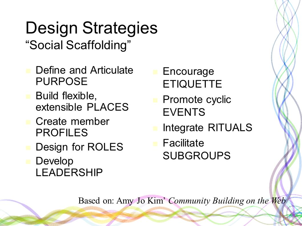 Design Strategies Social Scaffolding Define and Articulate PURPOSE Build flexible, extensible PLACES Create member PROFILES Design for ROLES Develop LEADERSHIP Encourage ETIQUETTE Promote cyclic EVENTS Integrate RITUALS Facilitate SUBGROUPS Based on: Amy Jo Kim' Community Building on the Web