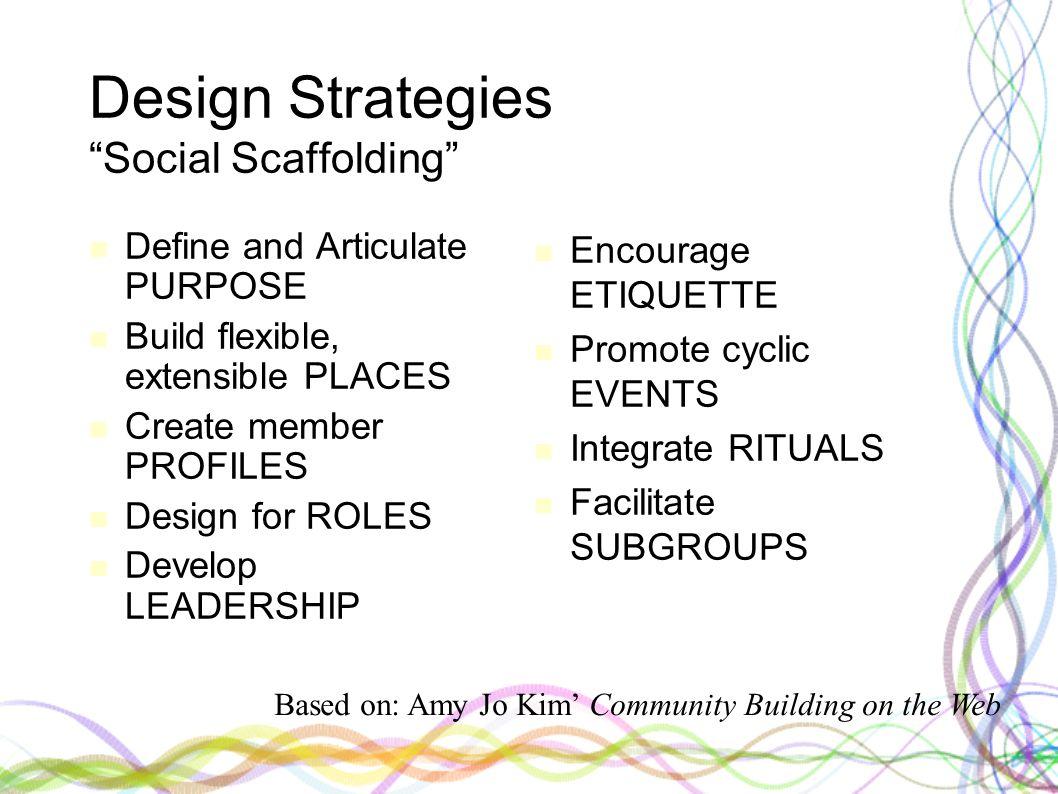 "Design Strategies ""Social Scaffolding"" Define and Articulate PURPOSE Build flexible, extensible PLACES Create member PROFILES Design for ROLES Develop"