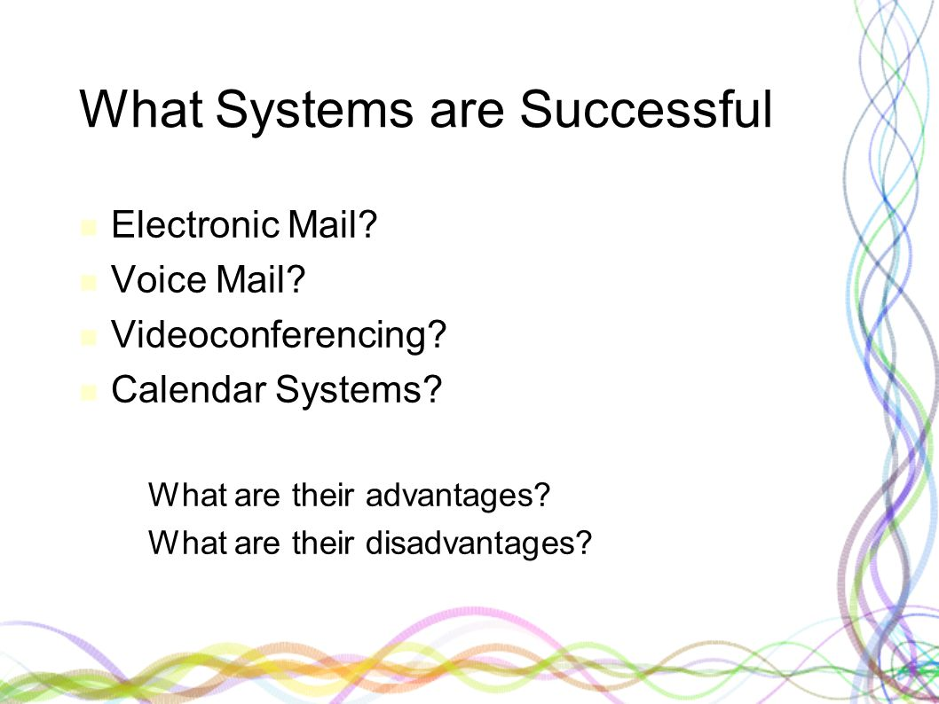 What Systems are Successful Electronic Mail. Voice Mail.