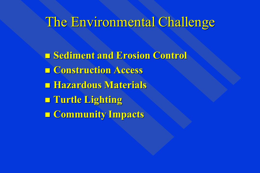 The Environmental Challenge n Sediment and Erosion Control n Construction Access n Hazardous Materials n Turtle Lighting n Community Impacts
