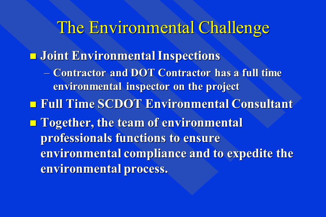 The Environmental Challenge n Joint Environmental Inspections –Contractor and DOT Contractor has a full time environmental inspector on the project n Full Time SCDOT Environmental Consultant n Together, the team of environmental professionals functions to ensure environmental compliance and to expedite the environmental process.