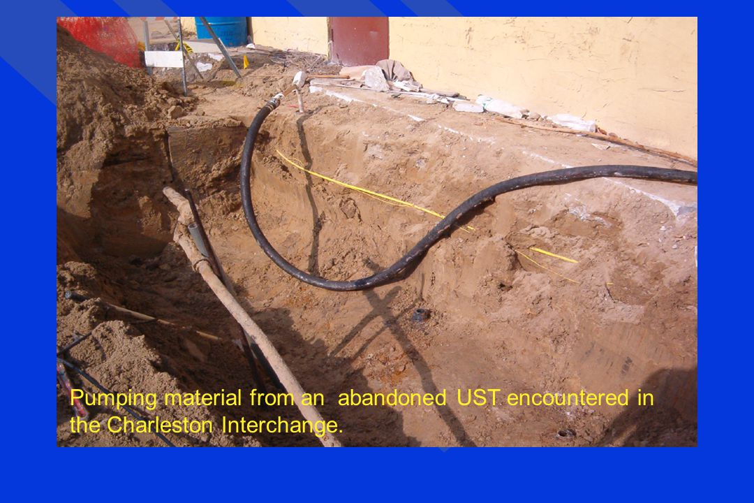 Pumping material from an abandoned UST encountered in the Charleston Interchange.