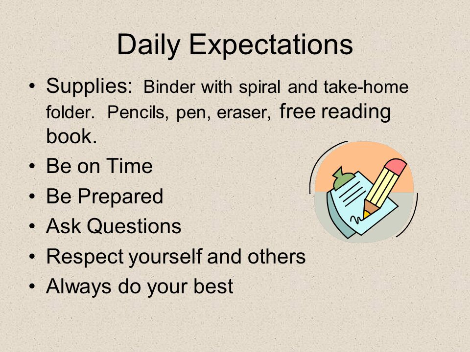 Daily Expectations Supplies: Binder with spiral and take-home folder.