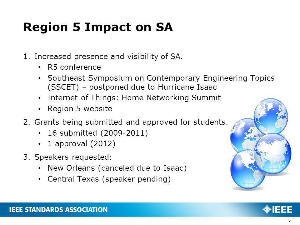 Region 5 Impact on SA 1.Increased presence and visibility of SA.