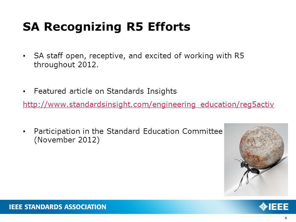 SA Recognizing R5 Efforts SA staff open, receptive, and excited of working with R5 throughout 2012.