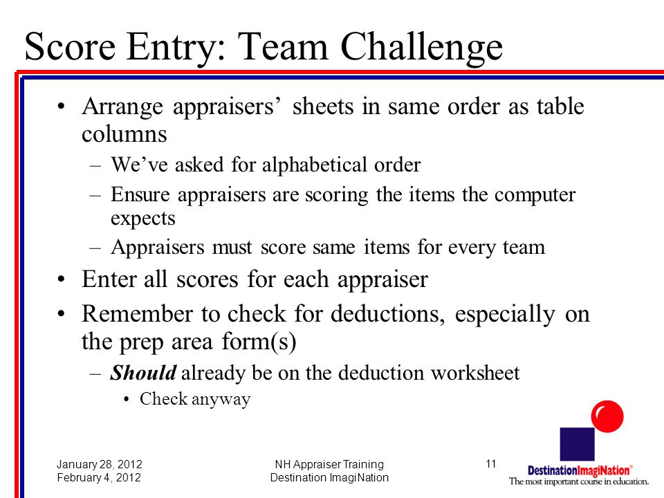 11January 28, 2012 February 4, 2012 NH Appraiser Training Destination ImagiNation Score Entry: Team Challenge Arrange appraisers' sheets in same order as table columns –We've asked for alphabetical order –Ensure appraisers are scoring the items the computer expects –Appraisers must score same items for every team Enter all scores for each appraiser Remember to check for deductions, especially on the prep area form(s) –Should already be on the deduction worksheet Check anyway