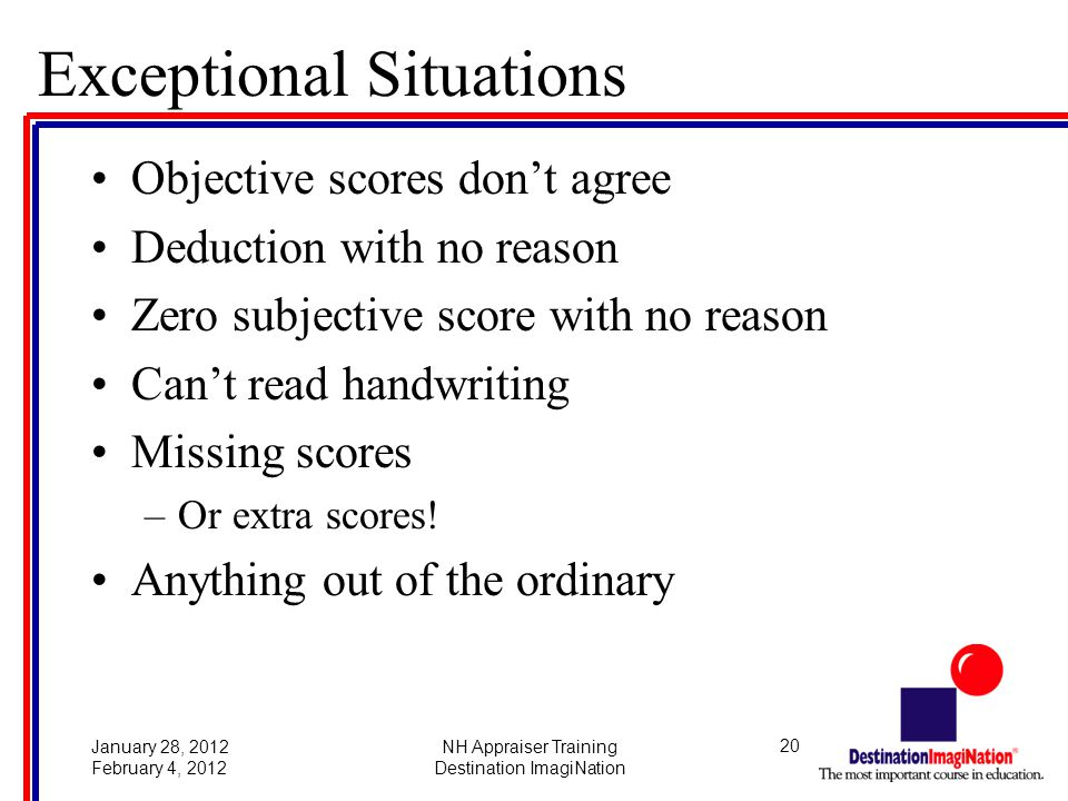 20January 28, 2012 February 4, 2012 NH Appraiser Training Destination ImagiNation Exceptional Situations Objective scores don't agree Deduction with no reason Zero subjective score with no reason Can't read handwriting Missing scores –Or extra scores.