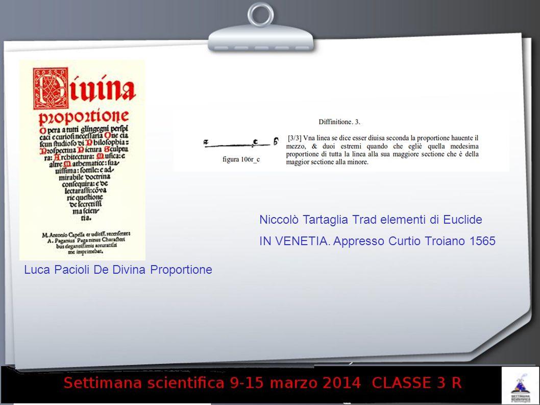 Luca Pacioli De Divina Proportione Niccolò Tartaglia Trad elementi di Euclide IN VENETIA.
