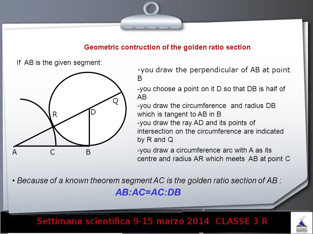 Geometric contruction of the golden ratio section If AB is the given segment: -you draw the perpendicular of AB at point B -you choose a point on it D so that DB is half of AB -you draw the circumference and radius DB which is tangent to AB in B -you draw the ray AD and its points of intersection on the circumference are indicated by R and Q -you draw a circumference arc with A as its centre and radius AR which meets AB at point C Because of a known theorem segment AC is the golden ratio section of AB : AB:AC=AC:DB ACB D Q R